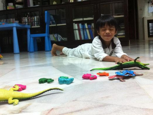 playing with his crocodiles:)